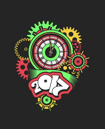 mechanical parts: vector illustration of a clock face surrounded by mechanical parts and wrap holiday banner digits of the year Illustration
