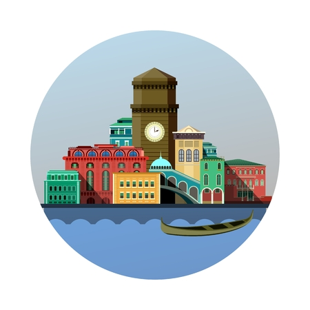 vector illustration round emblem of the city on the river