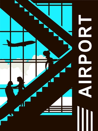 picture window: vector illustration of the airport building waiting room large picture window, people silhouettes, mourners, vertical poster, the movement of the escalator to the upper floors