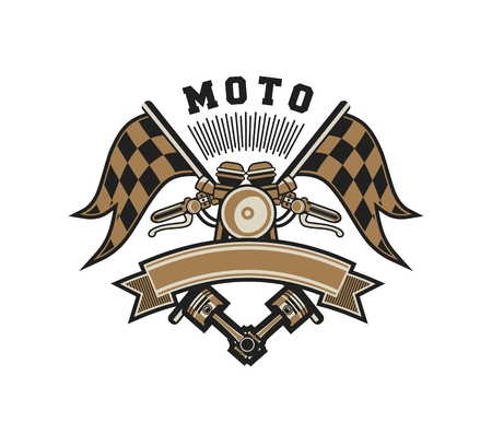 emblem racing: vector illustration emblem Racing, a motorcycle on a white background