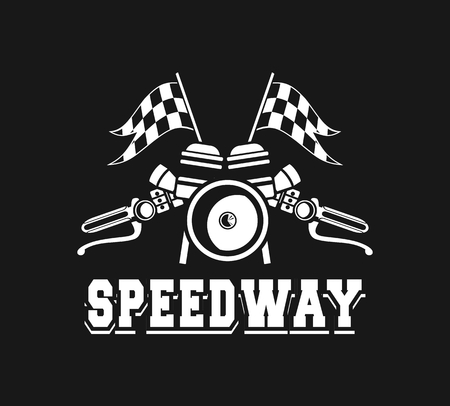 motorway: vector illustration emblem Racing, a motorcycle on a black background Illustration