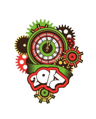 vector illustration of a clock face surrounded by mechanical parts and wrap holiday banner digits of the year Illustration
