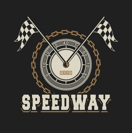 vector illustration emblem Racing, speedometer checkered flags
