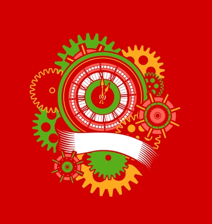 dial plate: vector illustration of a clock face surrounded by mechanical parts and wrap holiday banner