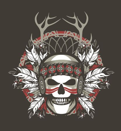 indian chief mascot: Stock Vector Indian skull chief badge on Black background Illustration