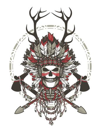 american tomahawk: vector illustration of a dead Indian chief in a headdress of feathers and attributes of power