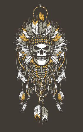 羽のヘッドドレスと力属性で死んだインディアンの酋長のベクトル イラスト  イラスト・ベクター素材