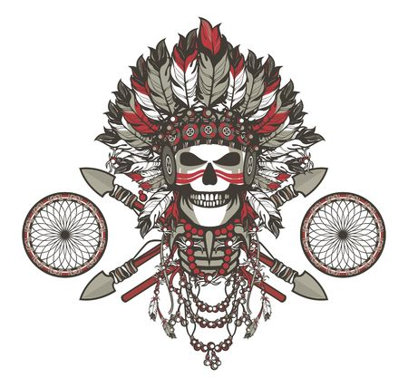 indian chief mascot: vector illustration of a dead Indian chief in a headdress of feathers and attributes of power