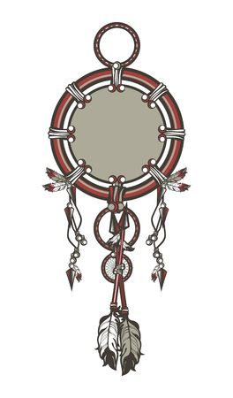 Dreamcatcher Native American mascot on a white background