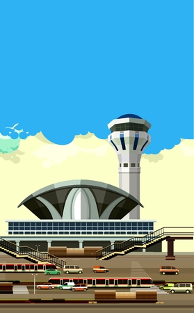 airstrip: vector illustration of the airport building next to vehicle parking Illustration