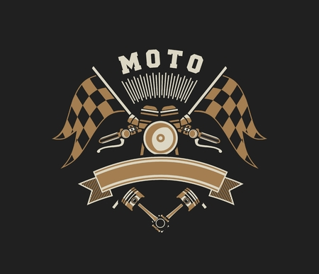 vector illustration emblem Racing, a motorcycle on a black background Illustration