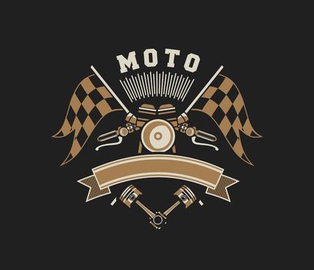 emblem racing: vector illustration emblem Racing, a motorcycle on a black background Illustration