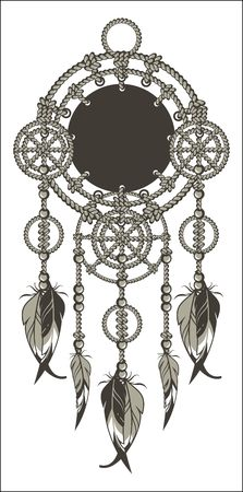 Native American Dreamcatcher protective amulet from the ropes and beads on a white background Illustration
