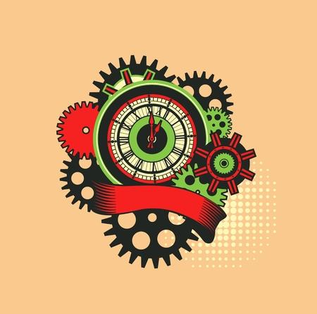 vector illustratie van een klok, omringd door mechanische onderdelen en wrap vakantie banner