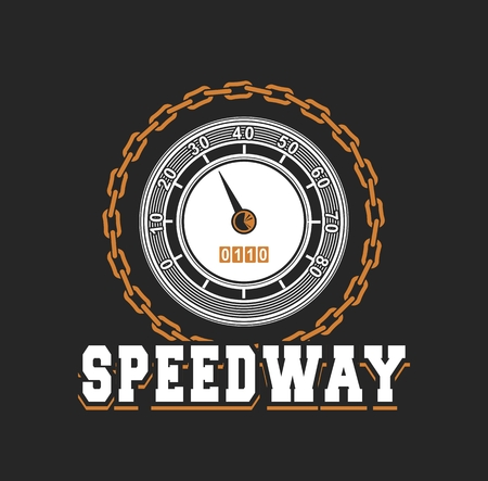 vector illustration emblem Racing, speedometer Black background