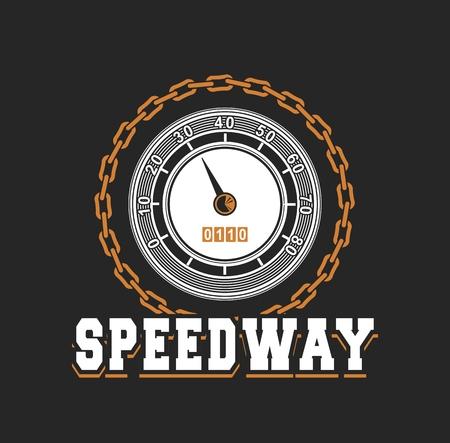 emblem racing: vector illustration emblem Racing, speedometer Black background