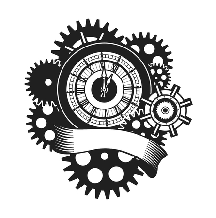 Vektor-Illustration einer Uhr Gesicht von mechanischen Teilen umgeben und Urlaub Banner schwarz wickeln und weiß