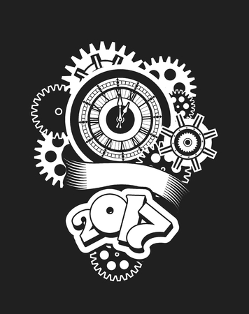 turns of the year: vector illustration of a clock face surrounded by mechanical parts and wrap holiday banner digits of the year Black and white