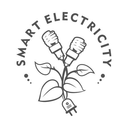 Vector illustration of a template for a business or company sign on environmental issues, green energy in two colors black and white Vektoros illusztráció