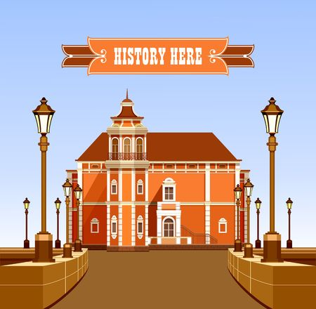 vector illustration ancient architecture beautiful building with garden fencing and lighting equipment suitable for emblems and poster Illustration
