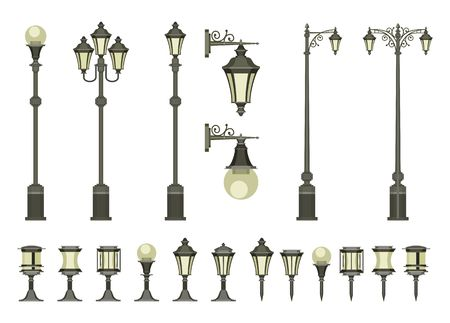 vector set of street lamps and small garden lamps on a white background Stock Illustratie