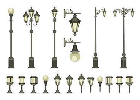 vettore serie di lampioni e lampade da giardino piccoli su uno sfondo bianco