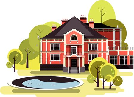 infield: vector illustration of a two-storey country mansion with a garden around it landscaped, garden maze, trees and bushes in the sky