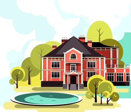 landscaped garden: vector illustration of a two-storey country mansion with a garden around it landscaped, garden maze, trees and bushes in the sky