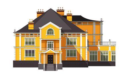 벡터 일러스트 레이 션 흰색 배경에 큰 오래 된 2 층짜리 집