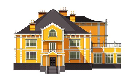 vector illustration big old two-storey house on a white background