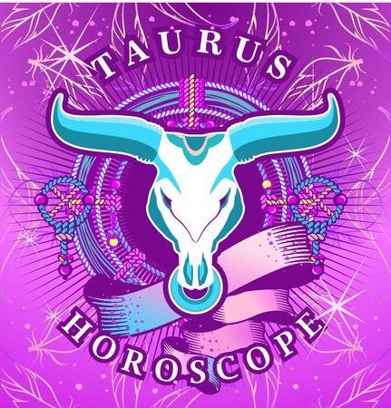vedic: Vector illustration of magic horoscope sign Taurus style of the 60s, bright hippie art