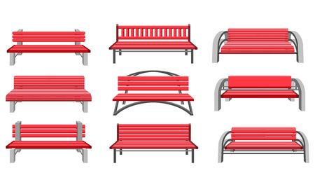 Vector Illustration Set Of Urban Park Bench On A White Background Front View