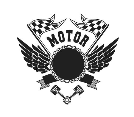illustration emblem Racing, a motorcycle on a black background