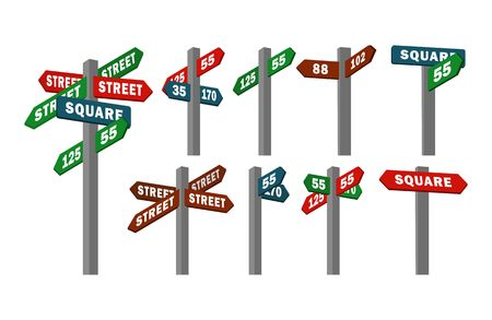 Stock set of isolated pillars street signs with arrows