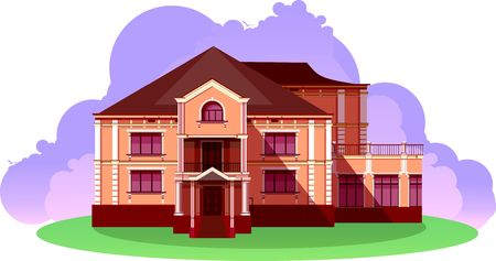 illustration of a beautiful country house on a white background Illustration