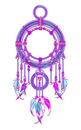 mixed media: Native American Dreamcatcher protective amulet from the ropes and beads
