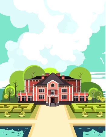 illustration of a two-storey country mansion with a garden around it landscaped, garden maze, trees and bushes in the sky