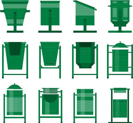 dumping: Stock set of isolated street bins for the city park in the same style of different shapes
