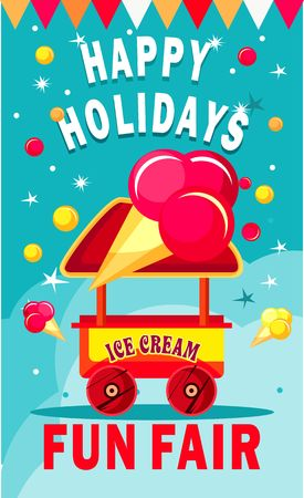 fairs: illustration of an ice cream cart for fun fairs and festivals on a colored background