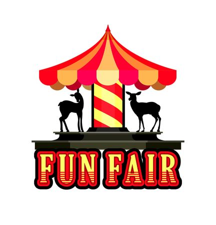 fairs: illustration cheerful childrens carousel of fun fairs and carnivals isolated on white background