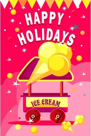 vector illustration of an ice cream cart for fun fairs and festivals on a colored background Illustration