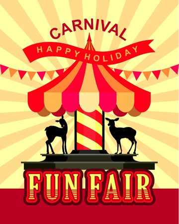 fairs: vector illustration cheerful children carousel of fun fairs and carnivals tsvtnom festive background Illustration