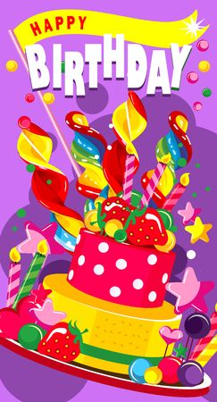 Vector illustration of a vertical greeting card happy birthday sweet treats and a cake with candles and berries Illustration