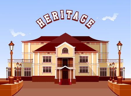 art museum: vector illustration ancient architecture beautiful building with garden fencing and lighting equipment Illustration