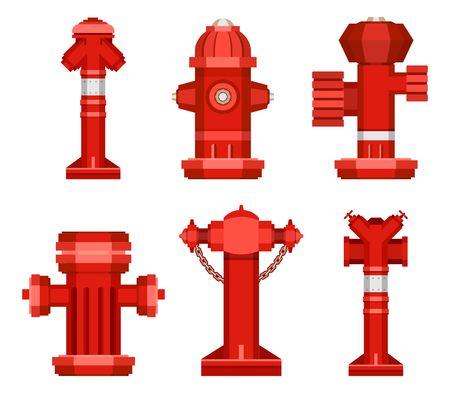 Conjunto común del vector de la boca de incendios roja aislada en un fondo blanco