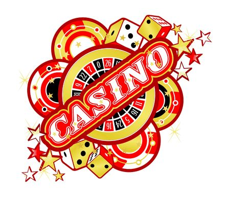 wheel of fortune: Casino Party Vector game of roulette and dice, emblem gambling house, gambling machines, the glowing sign