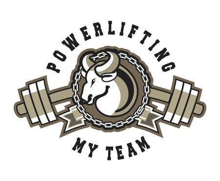 Vector Sports emblem for the gym, competitions, bull with a barbell exercise equipment isolated, black and white