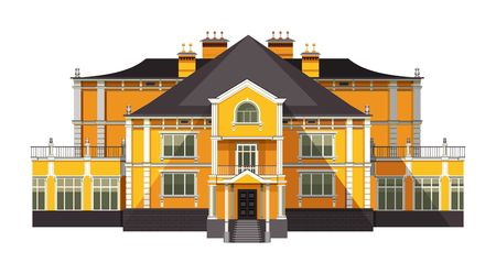 vector illustration big old two-storey house