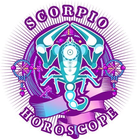 Vector illustration of magic horoscope sign Scorpio style of the 60s, bright hippie art isolated on white background