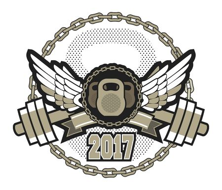 building a chain: vector sport emblem for the gym kettlebell competition with wings in chains isolated on white background Illustration
